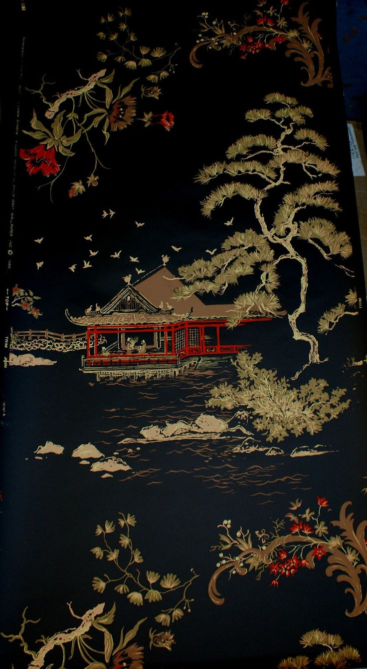 CHINOISERIE Asian Pagoda CHOCOLATE TAN Retro by Sarasotalife