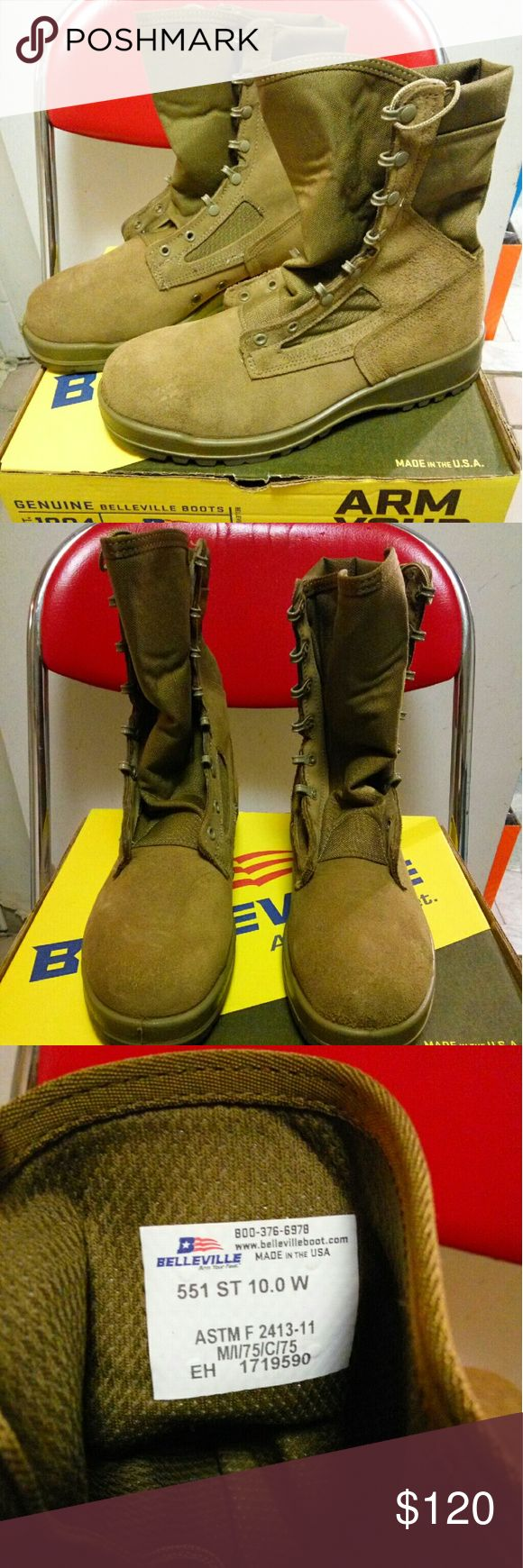 New Belleville 551 St  Jungle Desert Boots 10 NEW WITH BOX   Belleville 551 Hot Weather Steel Toe Coyote Suede Tan Combat Boot   (They come directly from the naval base shipyard)   MADE IN USA   size 10 Belleville Shoes Boots