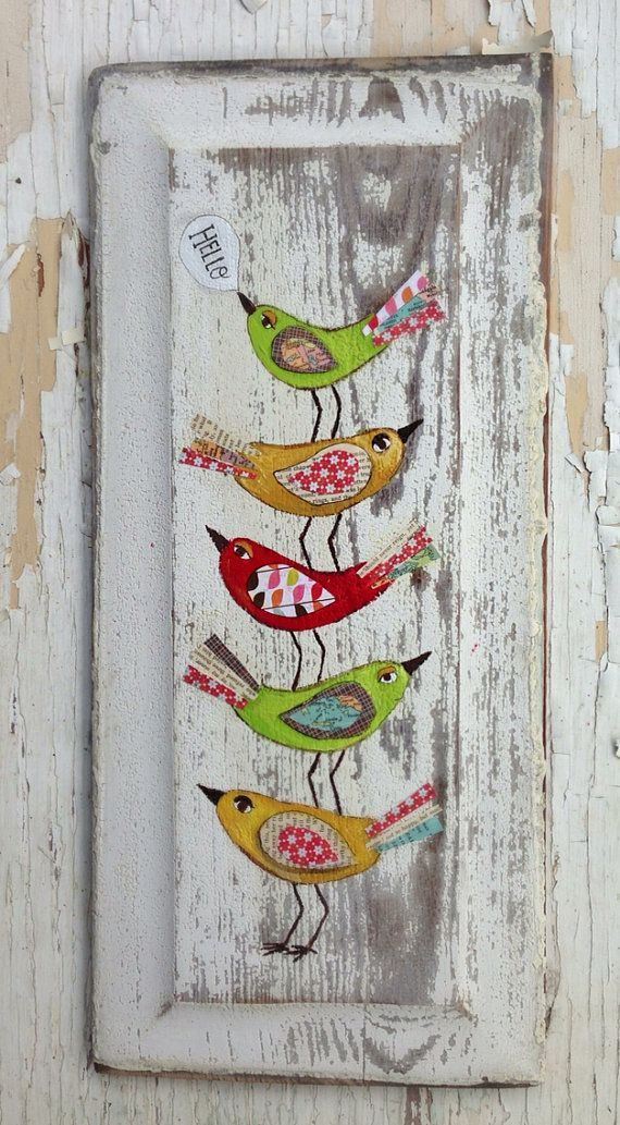 Hello Birds Original Painting Folk Art by evesjulia12 on Etsy, $68.00: