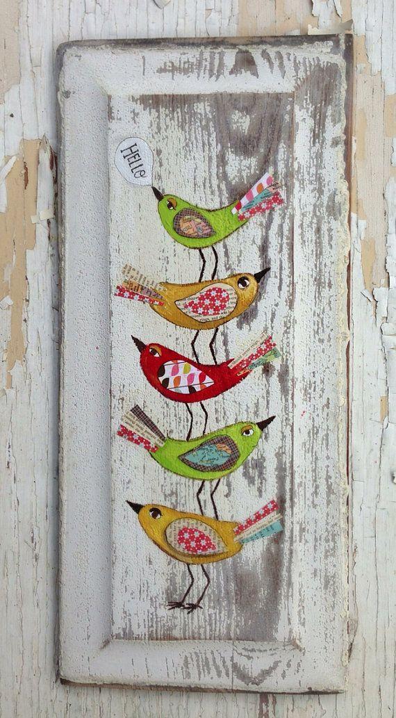 Hello Birds Original Painting Folk Art by evesjulia12 on Etsy, $68.00: