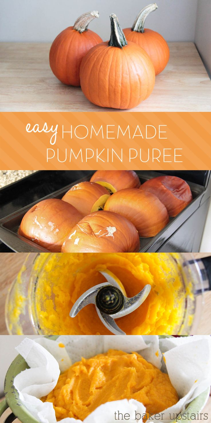 Homemade Pumpkin Puree Tutorial!!!  and if you paint on the pumpkins you can still probably cook them after Halloween. Use craft paint or magic markers...