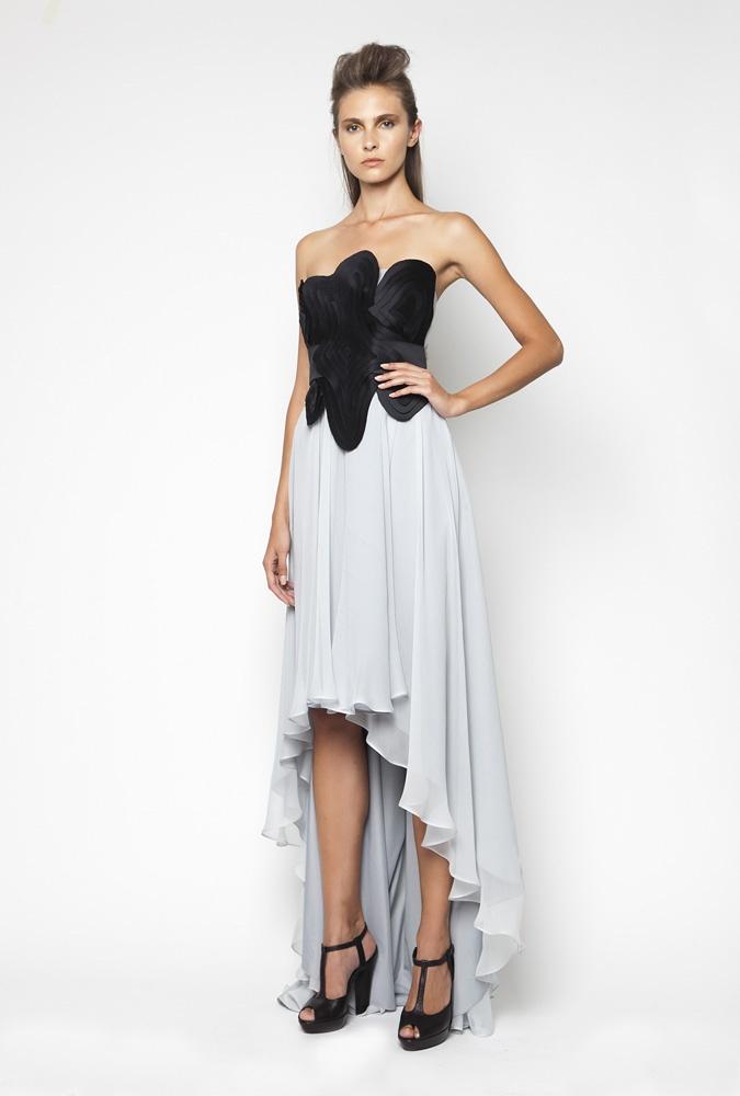 CHRISTOS COSTARELLOS SS12 Silk Chiffon & Tafeta Asymmetrical Dress With Handmade Layerd Technique