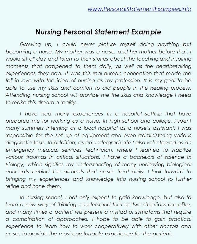 personal statement for a job in nursing