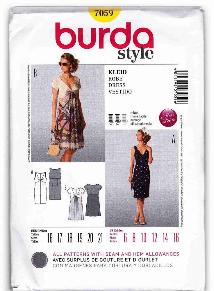 Burda 7059 Miss Petite Dress Sewing Pattern Sz 6-16