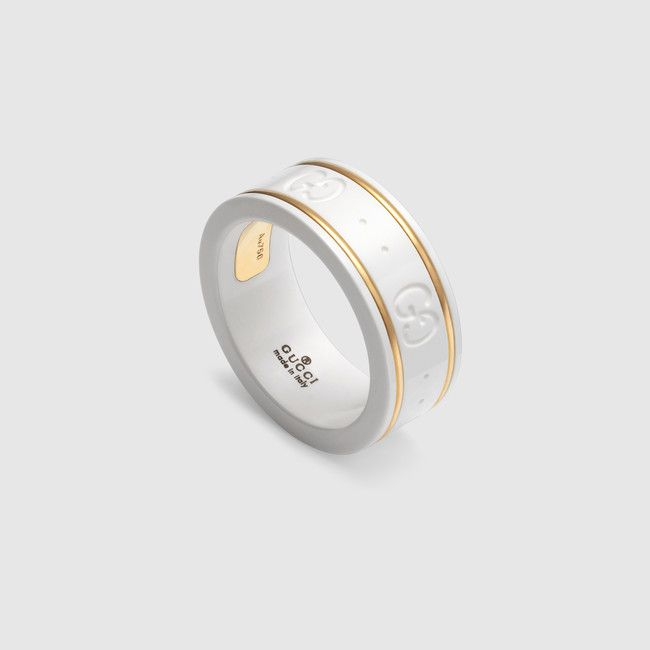 Fancy Gucci Icon ring made in k yellow gold and white zirconia with engraved GG