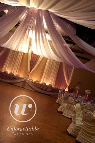 Unforgettable Weddings Sudbury Ontario Wedding Decor, Party Decor, Special Event Decor Ceiling Draping #weddingdecor #wedding #decor #ceiling #draping