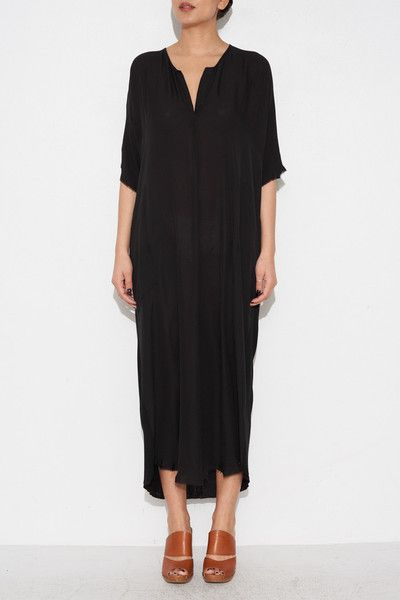 BLACK CAFTAN DRESS BY RAQUEL ALLEGRA | SHOPHEIST.COM