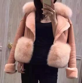 Genuine suede leather Fur jackets
