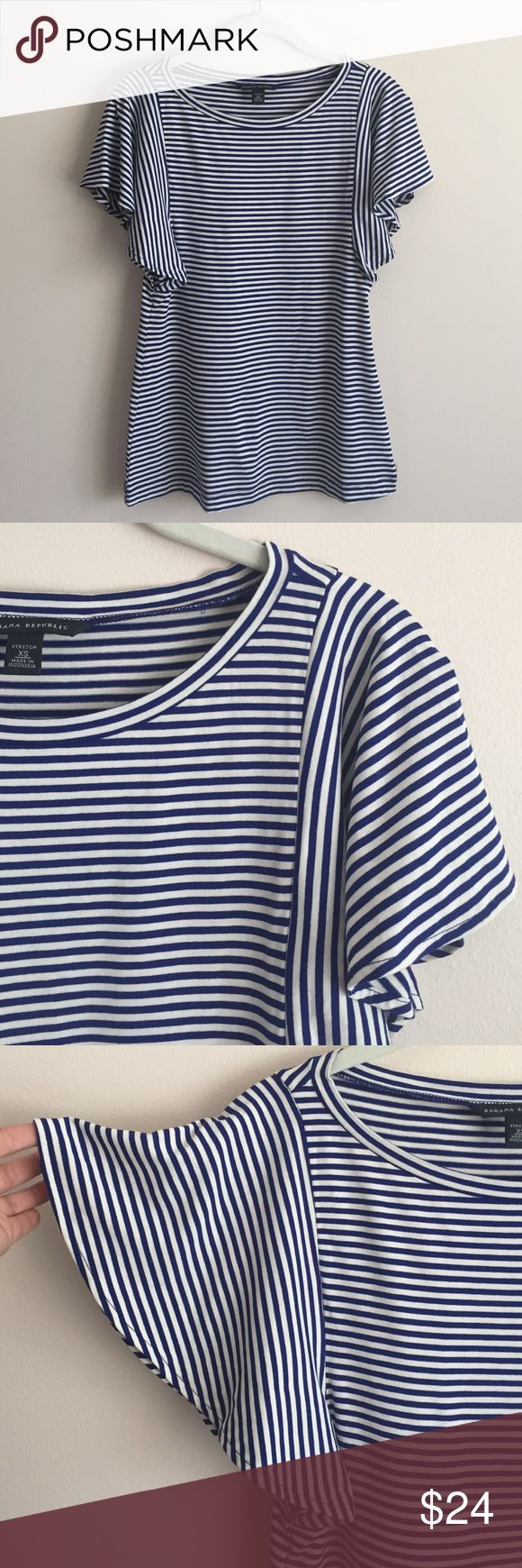 Banana Republic stripe flutter sleeve top Banana Republic blue/white stripe flutter sleeve stretch rayon/spandex top - perfect condition only worn once! Banana Republic Tops