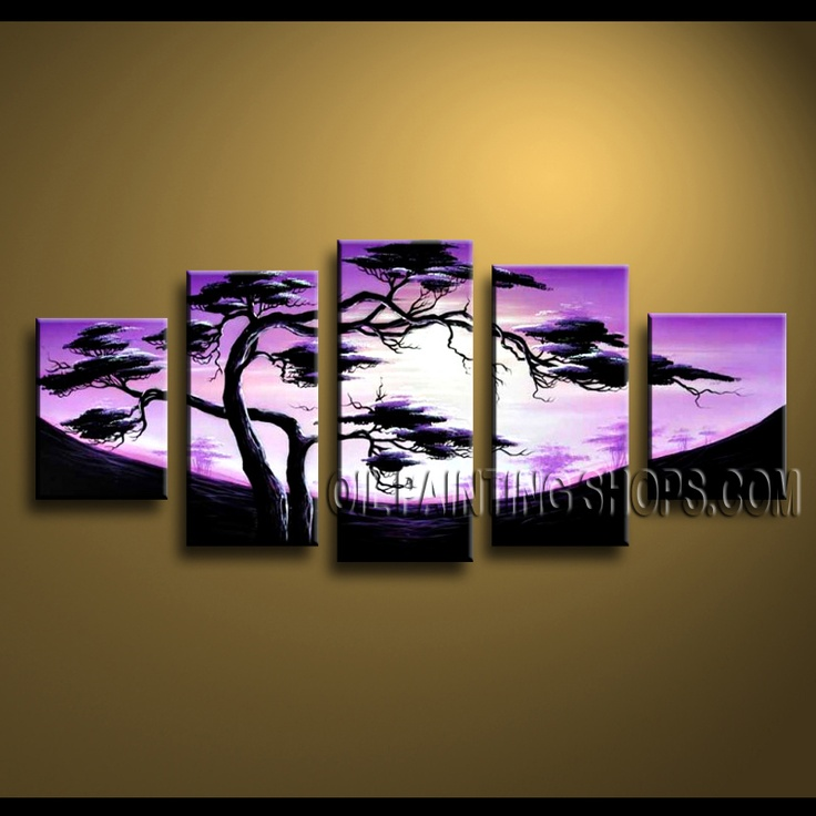 Primitive Contemporary Wall Art Hand Painted Oil Painting Stretched Ready To Hang Landscape. This 5 panels canvas wall art is hand painted by Anmi.Z, instock - $148. To see more, visit OilPaintingShops.com