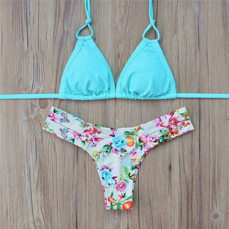 2016 Sexy Bikini Tanga Nuevo Acolchado Bikini conjunto Empuje Hacia Arriba El traje de Baño de La Vendimia Mujeres Retro Traje de Baño Brasileño Biquini Maillot De Bain en Bikinis Set de Deportes y Entretenimiento en AliExpress.com | Alibaba Group