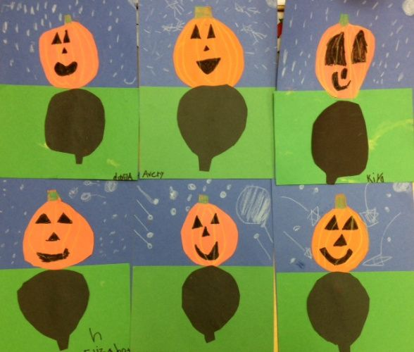 i love starting halloween art this post is a repeat of last years materials full sheet of blue or purple construction paper half sheet of green orange - Halloween Art For Kindergarten