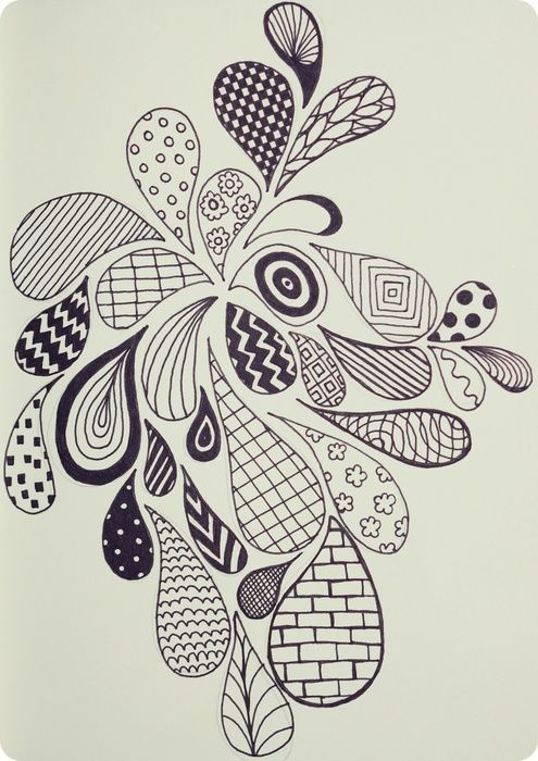 zentangle or embroidery doodle drawing ideas