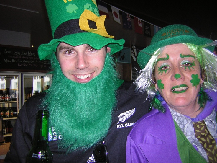 with an irish supporter at the irish/welsh match world cup rugby NZ 2011