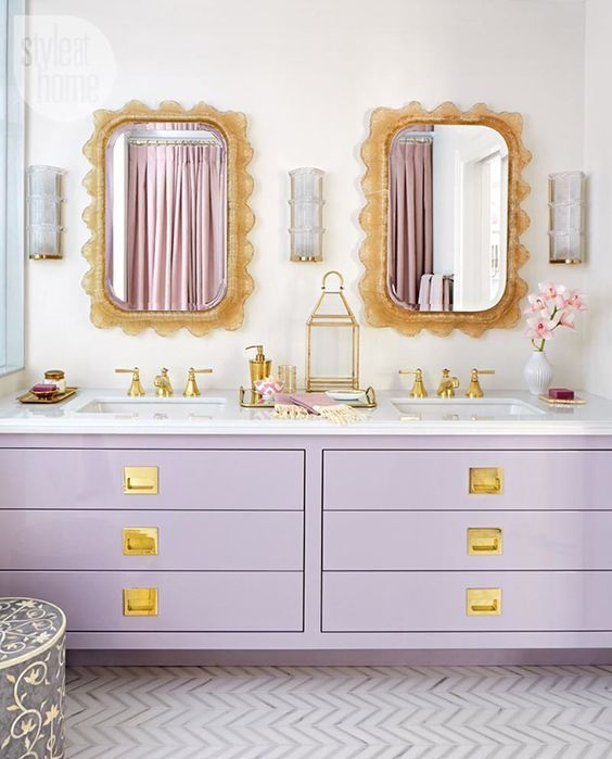 lavender double vanity with gold details for a glam bathroom