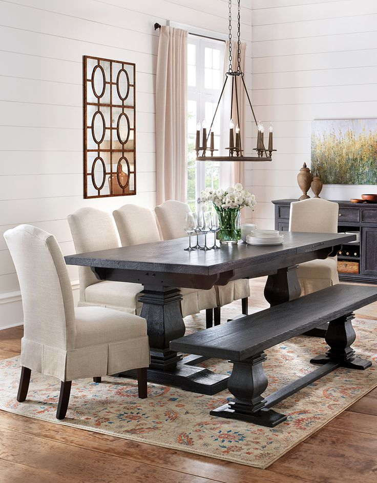 Dress Up The Dining Table With Skirted Upholstered Dining Chairs.