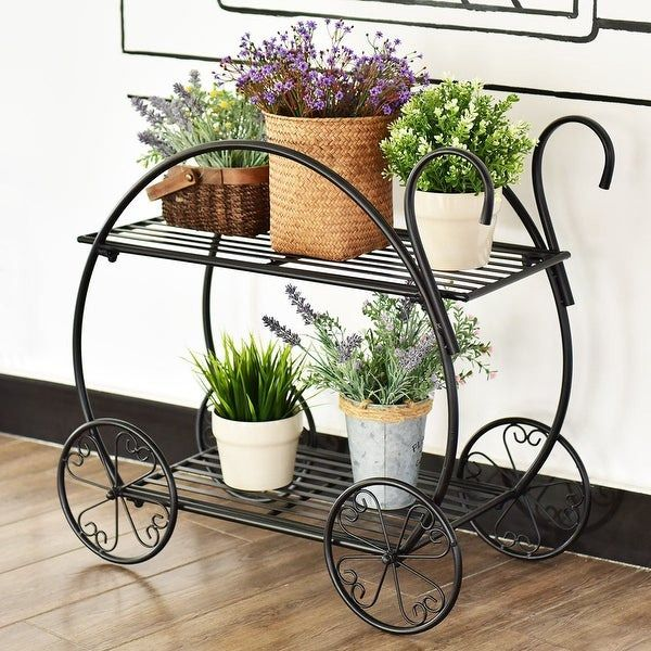 This Charming Two Tiered Flower Pot Stand Which Is Of High Quality Will Add A Touch Of Style To Any Space It Is Easy To Di Flower Cart Plant Decor Flower Pots