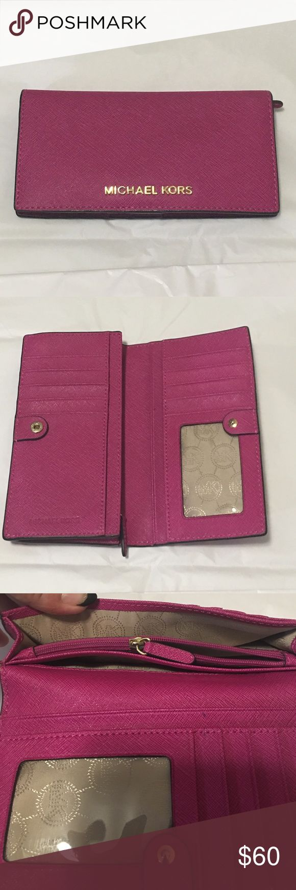 Michael Kors bi fold remind snap closure wallet Michael Kors bifold snap closure women's wallet in pomegranate with gold hardware and lining. 9 card slots, ID window, zippered coin pocket 6 separate pocket for bills or receipts. Michael Kors Bags Wallets