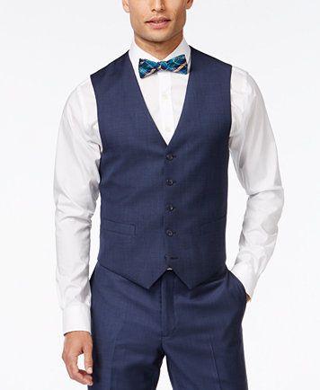 Tommy Hilfiger Blue Sharkskin Classic-Fit Vest - Suits & Suit Separates - Men - Macy's