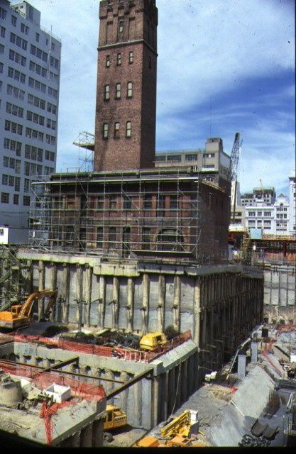 The Shot Tower - protection piles during Melbourne Central construction