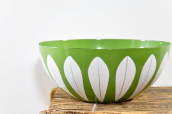 "Large 11"" Cathrineholm Lotus Bowl //  Mid Cenutry White on Green Enamel Scandinavian Mixing Bowl by theweekendshop. Explore more products on http://theweekendshop.etsy.com"