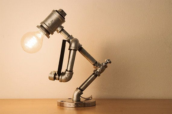 PIPESTORY - Pipe lamp / Iron pipe lamp / industrial Lamp /Vintage lamp / Steampunk Light / Table Lamp