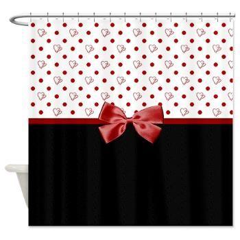 Girly Polka Dot Hearts Shower Curtain