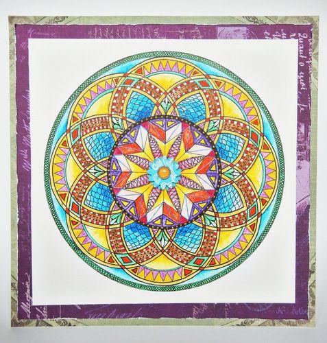 Mandala, kredki akwarelowe