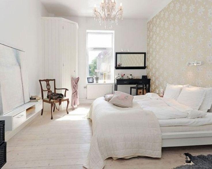 Yatak Odası İçin Beyaz Duvar Kağıdı Modelleri