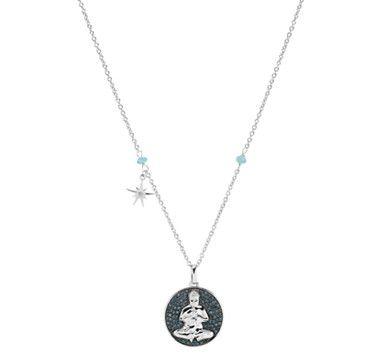 Eva LaRue White  Blue Diamond Sterling Silver Buddha Pendant with Chain