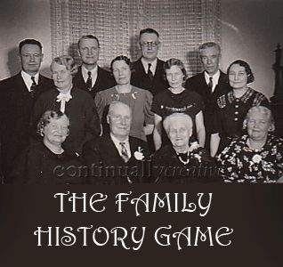 The-Family-History-Game Directions and downloads to play available at www.continuallycreative.com - great for a Youth activity to teach the importance of Family History!