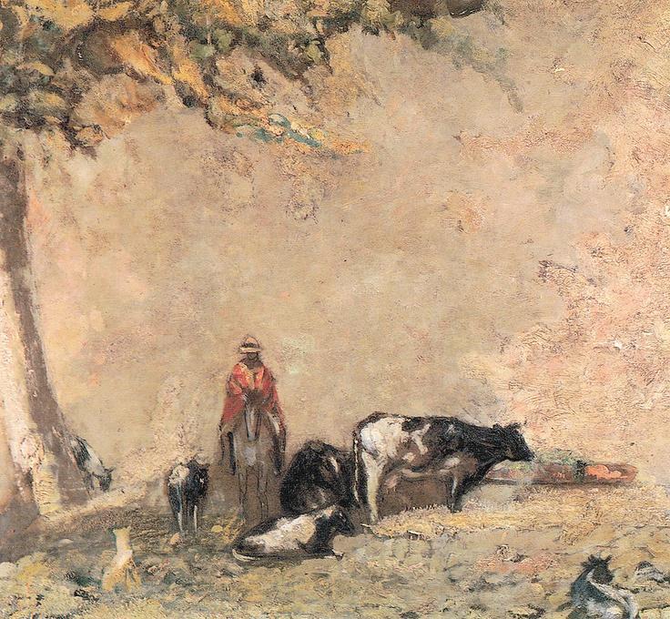 """""""Animales Pastando, Caballo y Jinete"""" Pablo Buchard. Óleo sobre cartón (74x67) Aunque en sus comienzos su obra se enmarca dentro del realismo romántico, progresivamente fue evolucionando hacia una forma de impresionismo de corte intimista."""