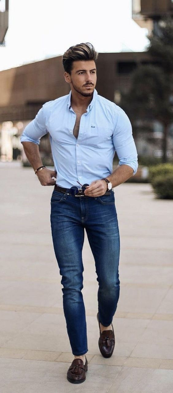 939149c7c5d4  rowanrow - with a summer business casual combo with a blue button up shirt  rolled up sleeves wrist accessories watch brown leather belt blue jeans no  show ...