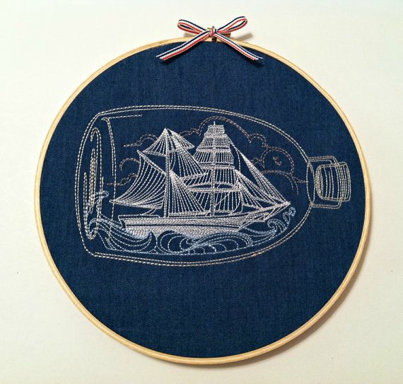SHIP IN A BOTTLE embroidery hoop art nautical wall decor