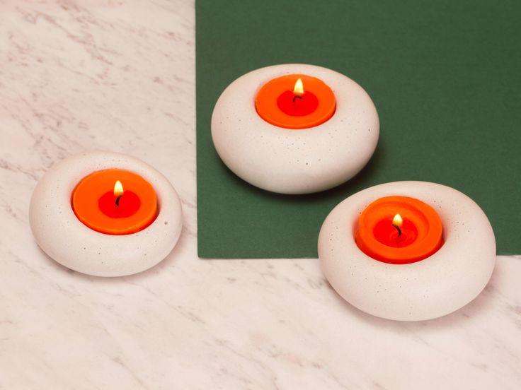 abconcrete design - candlestick, concrete, wood, white, red, green, orange, design, minimal, Blub
