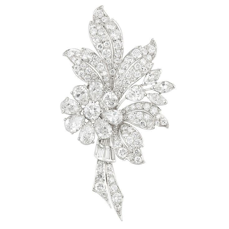 Platinum and Diamond Brooch, Tiffany & Co.  The bouquet brooch centering a floret of one round and 8 pear-shaped diamonds, diamond, accented on a wire stem with one pear-shaped and 3 marquise-shaped diamonds, altogether approximately 3.35 cts., set throughout with 104 round and 4 baguette diamonds approximately 3.40 cts., signed Tiffany & Co., approximately 8 dwts.