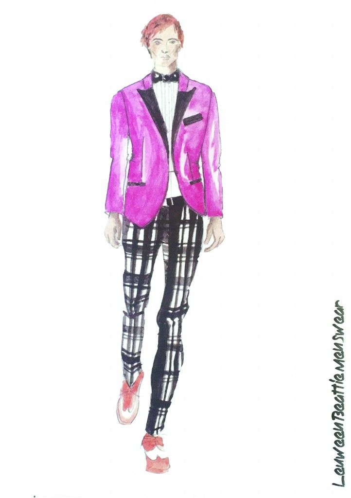 Grafton Academy graduate Leuween Beattie menswear fashion illustrations.