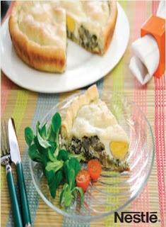 Tarta de alcachofas, espinacas y huevos del blog Cucharita de palo #nestlebloggers #recetas
