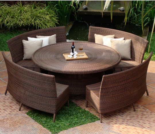 Dining Sets With Benches For Your Outdoor Living : Dining Sets With Benches  Outdoor Living Green Lawn Rattan Round Table Rattan Curves Benches