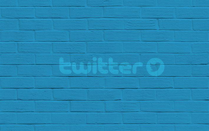 Télécharger fonds d'écran Twitter, de l'emblème, mur de briques, mur bleu, logo twitter
