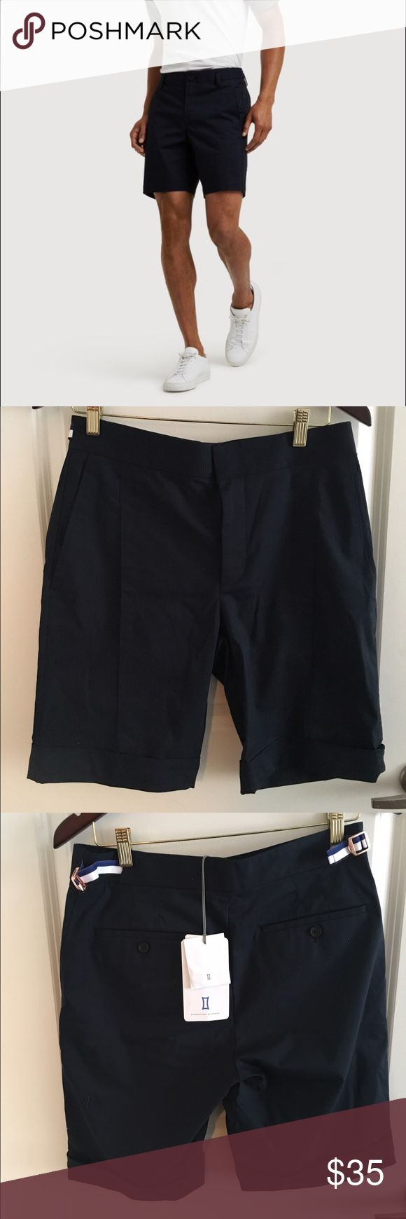 Men's navy Kit and Ace shorts These are new from the trending new brand Kit and Ace--known for their upscale sporty clothing. These shorts are great for the upcoming summer and have a great dressy casual, preppy vibe. The color is Navy and waist size is 32. Kit and Ace Shorts