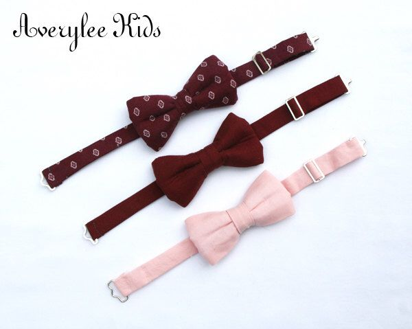 Burgundy Boys Bow Tie, Wine Bow Tie, Blush Pink Bowtie, Toddler Bow Tie, Wedding Ring Bearer, Burgundy Wedding, Groomsmen Bow Tie by BOYISHCHARMandCO on Etsy https://www.etsy.com/listing/274878242/burgundy-boys-bow-tie-wine-bow-tie-blush