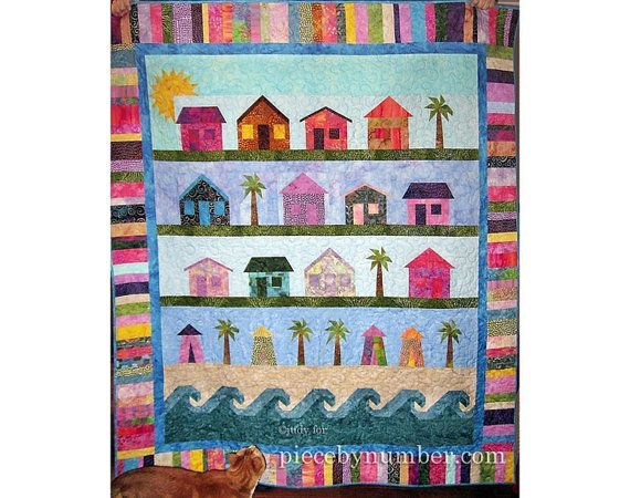 Beach Cottages Quilt Pattern paper pieced by PieceByNumberQuilts