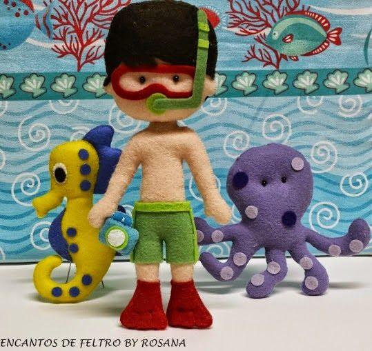 Encantos de Feltro By-Rosana: Guirlanda fundo do mar