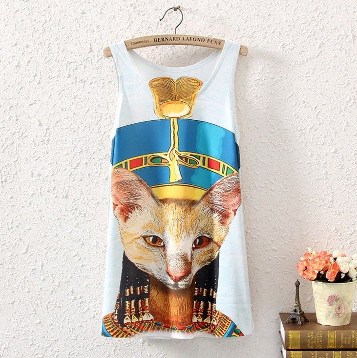 NEW WOMEN SLEEVELESS EGYPT CAT GRAPHIC PRINTED T SHIRT TEE VEST BLOUSE TANK TOPS