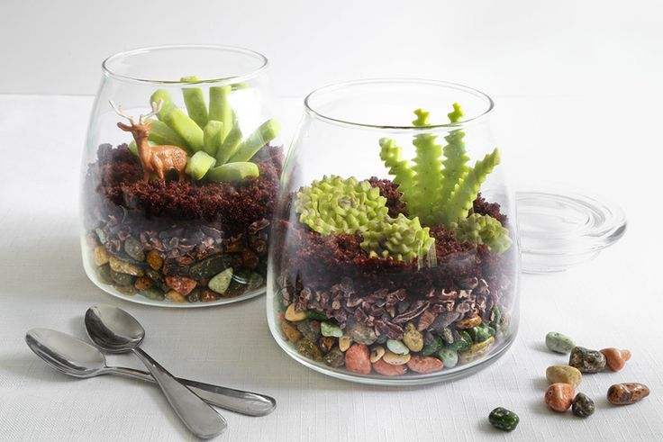 candy terrariums! These garden lookalikes are completely edible (aside from their containers and plastic deer decor). The bottom layer is made of candy-coated chocolate rocks, the second layer is crunchy cacao nibs, and the third layer of 'potting soil' is made of crumbled chocolate cupcakes.