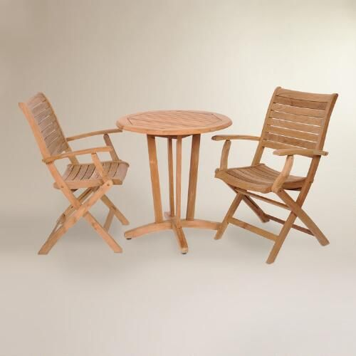Tanjun Teak Outdoor Bistro Set With Folding Armchairs Part 90