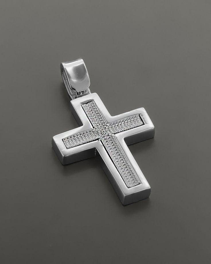 Σταυρός βάπτισης Λευκόχρυσος Κ14 δύο όψεων