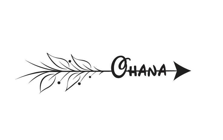 an arrow needs to be pulled backwards to reach something. so when life 'pulls you backwards' 'ohana' which means family, is there for you! such a beautiful tattoo idea!