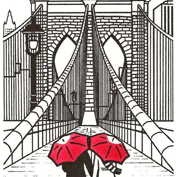 Love in Brooklyn  http://www.etsy.com/listing/67626800/new-york-love-gocco-art-print-brooklyn